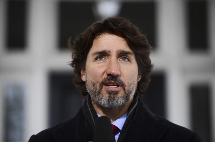 Prime Minister Justin Trudeau holds a news conference at Rideau Cottage in Ottawa on Friday, Jan. 22, 2021. (Sean Kilpatrick/The Canadian Press via AP)