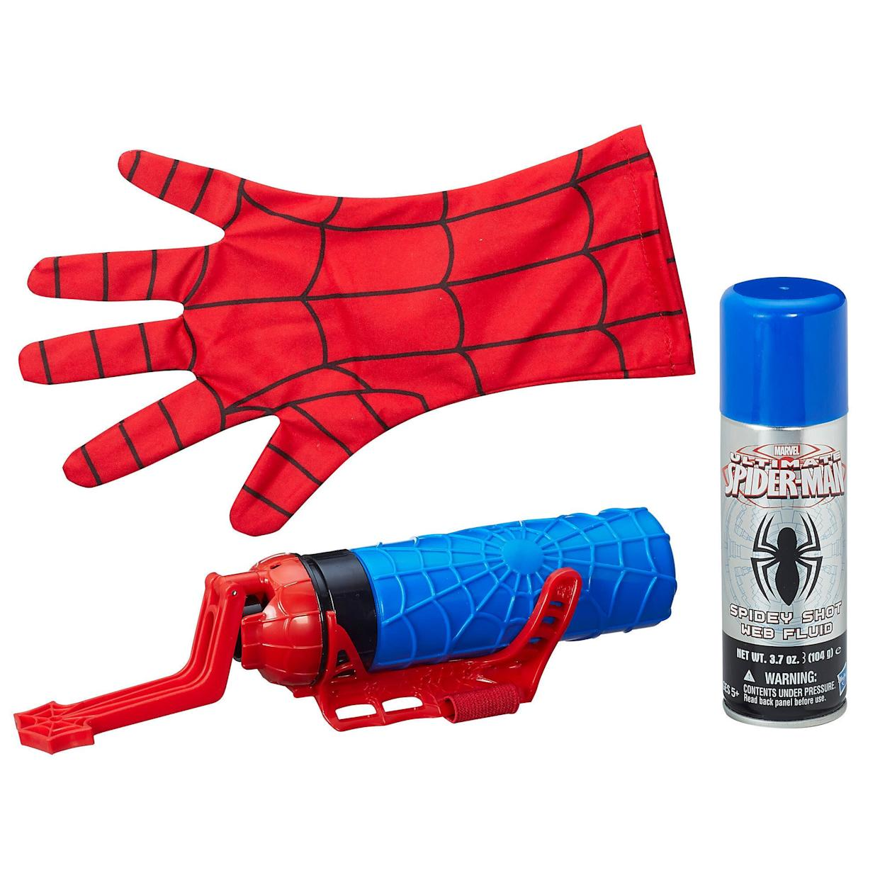 "With the Spider-Man Super Web Slinger, kids are ready to sling webs like Spider-Man! Load the included can of Spidey Shot web fluid and get ready for some web-blasting action! Kids will discover that web-slinging is not just a great way to imagine fighting crime; it's also a great way to have fun! With the Spider-Man Super Web Slinger, it's time to blast bad guys or just have a blast with Spider-Man gear! <strong><a href=""https://fave.co/2HKjO7d"" rel=""nofollow noopener"" target=""_blank"" data-ylk=""slk:Find it for $18 at Walmart"" class=""link rapid-noclick-resp"">Find it for $18 at Walmart</a>.</strong>"