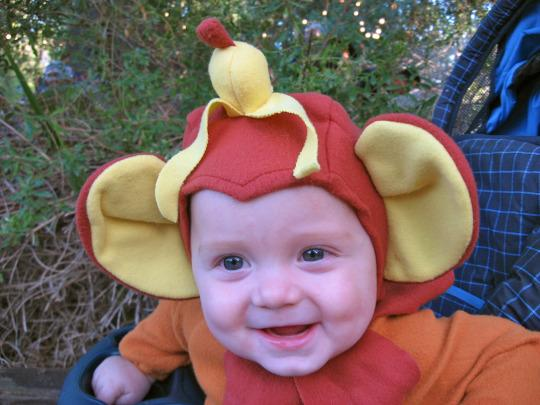 <p><b>2007: MONKEY</b></p><p>My favorite Halloweens were the ones when our two sons were little and I put them in costumes that were purely for my amusement. Like this eight-month-old monkey with a banana on his head. </p>