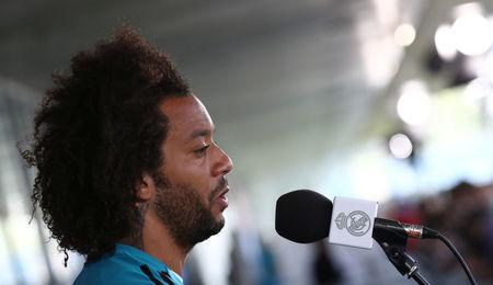 Soccer Football - Champions League - Real Madrid Press Conference - Real Madrid City, Madrid, Spain - May 22, 2018 Real Madrid's Marcelo during the press conference REUTERS/Sergio Perez