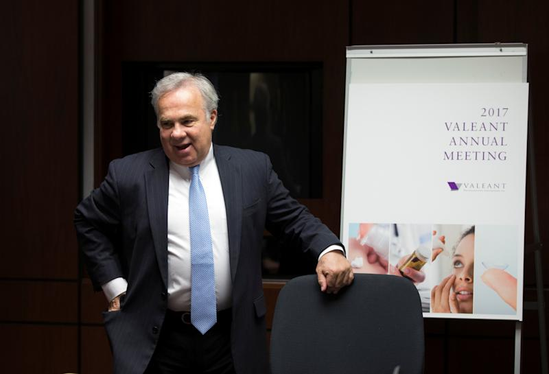 Valeant Pharmaceuticals International Inc.'s chief executive officer and chairman of the board Joseph Papa speaks to the press following their annual general meeting in Laval