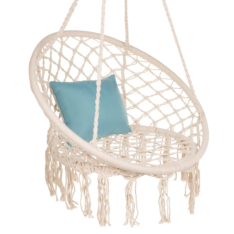 <p>Rock the summer days away in this boho chic <span>Handwoven Cotton Macrame Hammock</span> ($55, originally $110).</p>