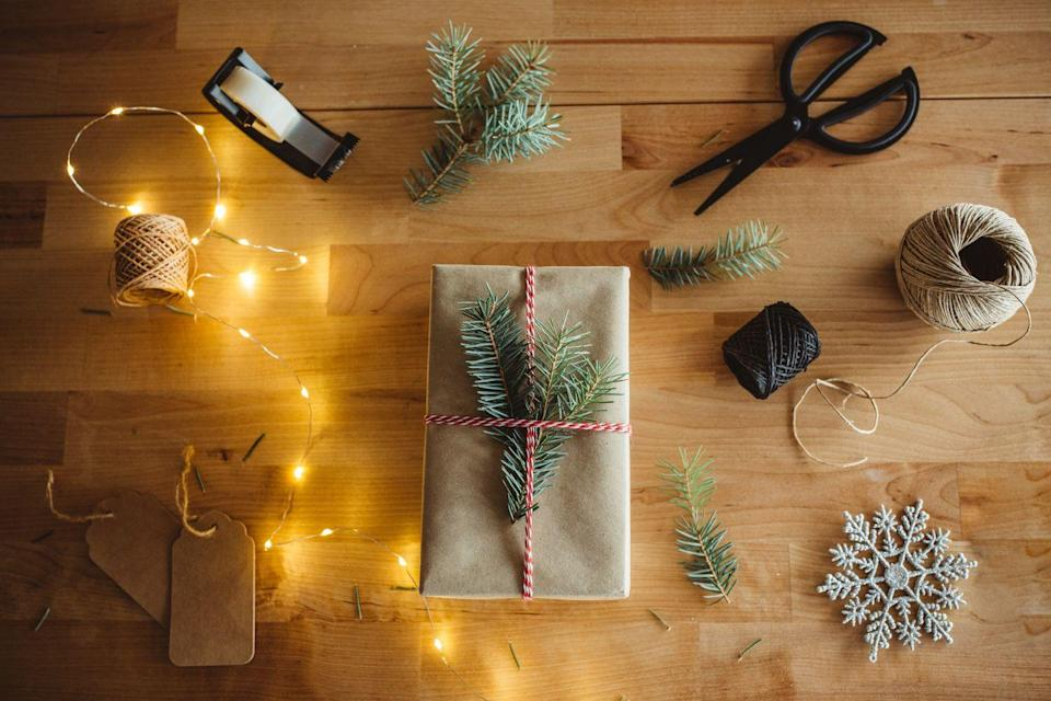 """<p>It doesn't get much more classic than sprigs of Evergreen tucked into red and white baker's twine on Christmas. </p><p><a class=""""link rapid-noclick-resp"""" href=""""https://www.amazon.com/Tenn-Well-Butchers-Christmas-Wrapping/dp/B01MYUWR9S?tag=syn-yahoo-20&ascsubtag=%5Bartid%7C10072.g.34015639%5Bsrc%7Cyahoo-us"""" rel=""""nofollow noopener"""" target=""""_blank"""" data-ylk=""""slk:SHOP BAKER'S TWINE"""">SHOP BAKER'S TWINE</a></p>"""
