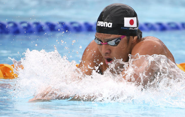 Daiya Seto of Japan swims breaststroke during his men's 200m individual medley at the Pan Pacific swimming championships in Gold Coast, Australia, Sunday, Aug. 24, 2014. (AP Photo/Rick Rycroft)