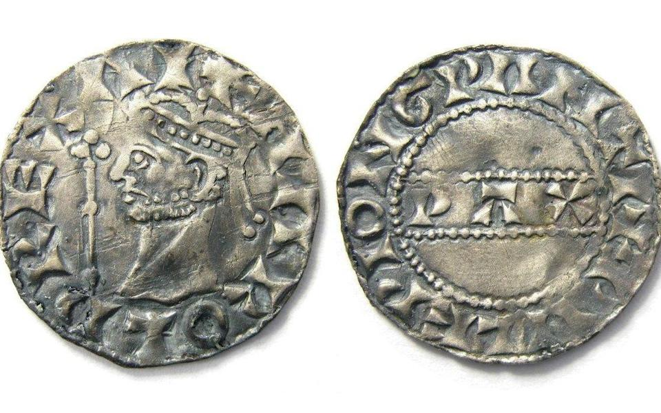 Undated handout photo of a Harold II silver penny found by Reece Pickering in Norfolk. The coin, along with a Henry I silver penny found by Walter Taylor in Essex, will be sold at auction by Derbyshire-based Hansons' Auctioneers from October 26 - Hansons/PA Wire
