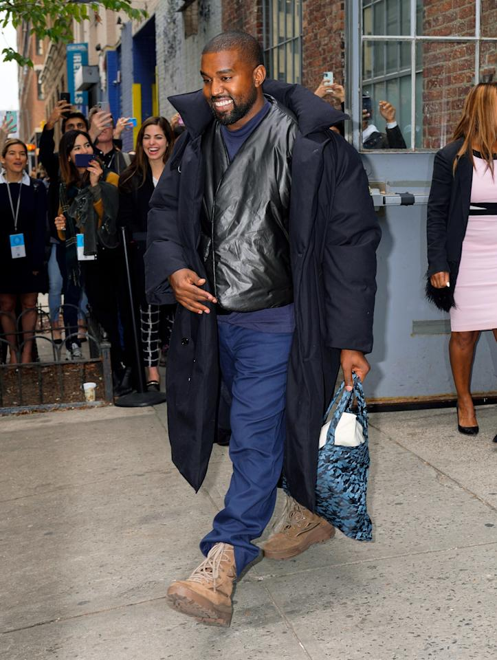 <p>WHAT: Raf Simons coat and Yeezy boots </p> <p>WHERE: In New York City </p> <p>WHEN: November 7, 2019 </p> <p>WHY: Looking this decent while dressed as a human sleeping bag is a triumph.</p>