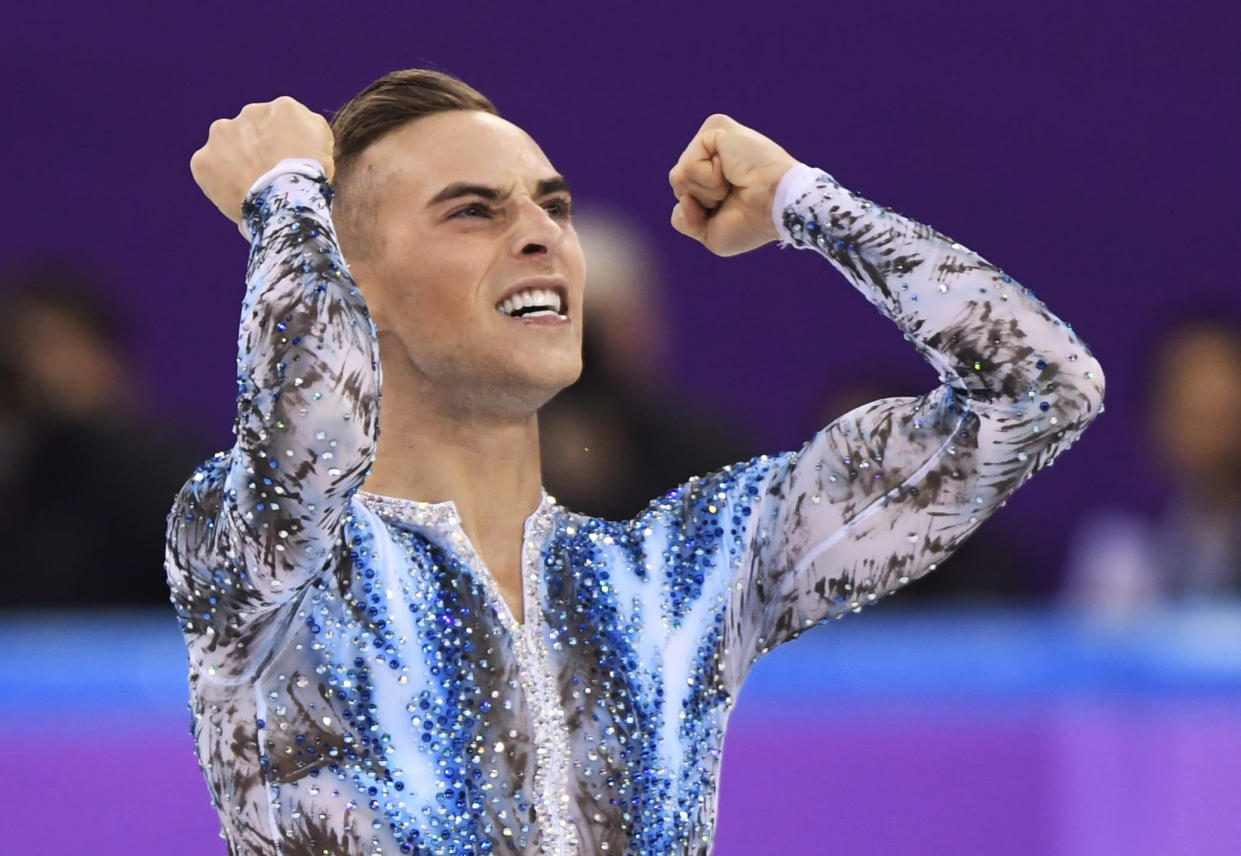 Adam Rippon of the United States reacts after his performance in the men's single skating free skating in the Gangneung Ice Arena at the 2018 Winter Olympics. (AP)