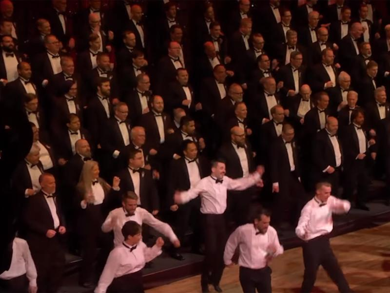 The Portland Gay Men's Chorus performing in the finale of its 2016 Pride concert: Youtube
