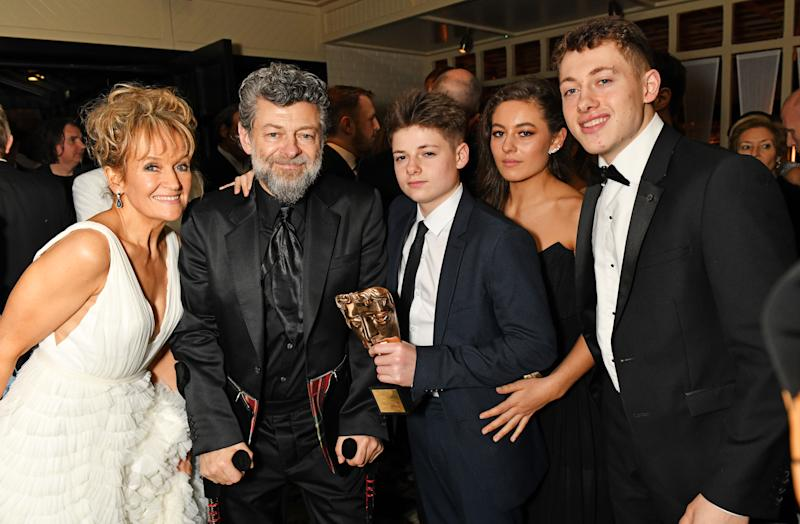 Lorraine Ashbourne, Andy Serkis, Louis Serkis, Ruby Serkis and Sonny Serkis pose the Netflix BAFTA after party at Chiltern Firehouse on February 2, 2020 in London, England. (Photo by David M. Benett/Dave Benett/Getty Images for Netflix)