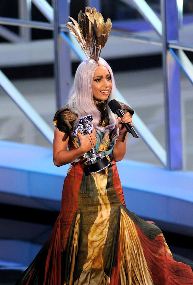 """WORST — Gaga Pretends These Awards Matter: Though we're oddly still entertained by Lady Gaga's overly zany outfits, her tears and overwhelmed outpouring of emotion at winning these meaningless awards got increasingly more annoying every time it happened. <a href=""""http://www.televisionwithoutpity.com/show/award_shows/mtv_vmas_best_and_worst_moment.php?__source=tw