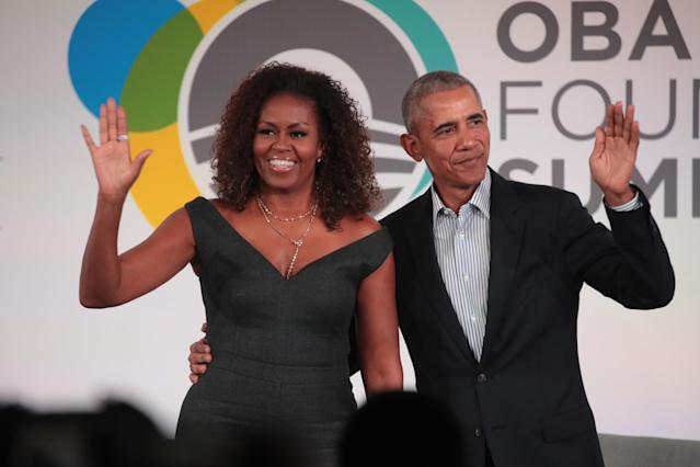 Barack Obama and Michelle close the Obama Foundation Summit together on 29 October 2019 in Chicago. [Photo: Getty]