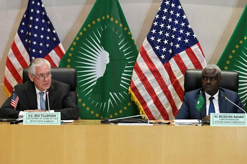 Turn the page US Secretary of State Rex Tillerson at a press conference with the African Union's Moussa Faki