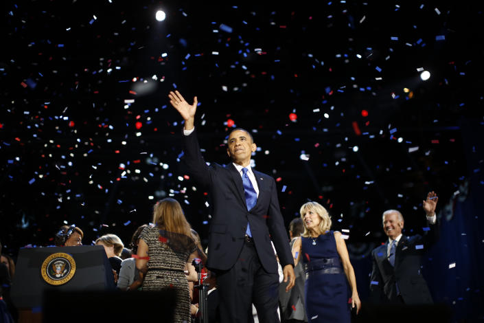 U.S. President Barack Obama celebrates after his victory speech during election night in Chicago, November 6, 2012. REUTERS/Jason Reed (UNITED STATES - Tags: POLITICS USA PRESIDENTIAL ELECTION ELECTIONS) BEST QUALITY AVAILABLE