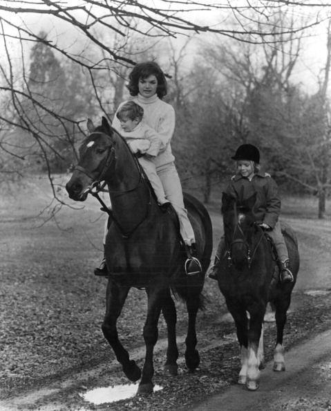 <p>Jackie and her children on horseback in Glen Ora, the Kennedy Estate in Middleburg, Virginia. </p>