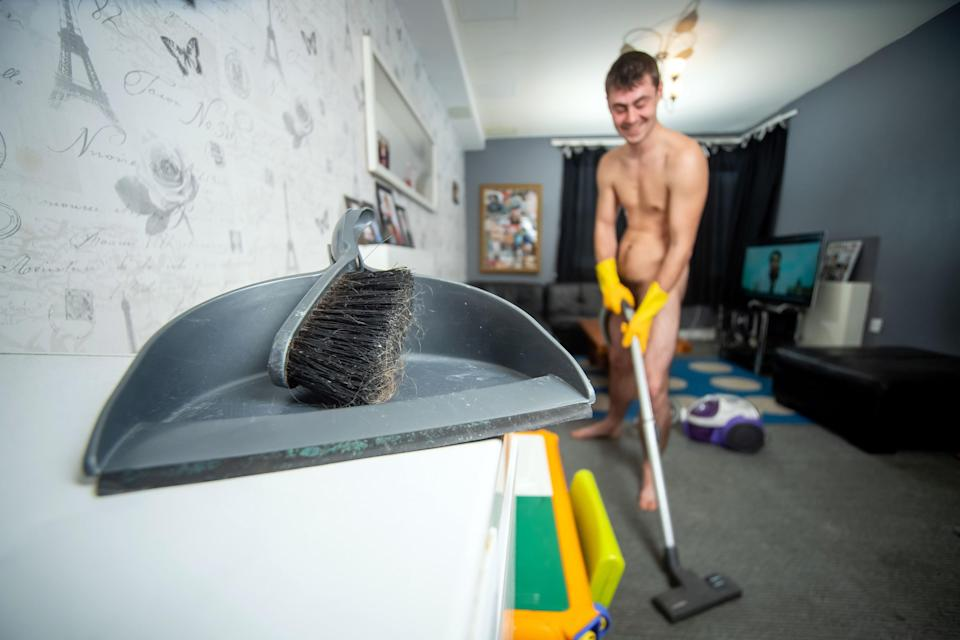 He charges $55 per hour for his naked cleaning services. Photo: Caters News