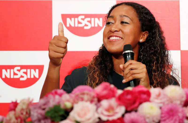 Osaka attends a news conference in Yokohama following win in women's singles finals tennis match at the 2018 U.S. Open