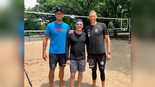 No, it's not like the scene in 'Top Gun.' Beach volleyball is a whole lot tougher than that, even without the aviators and blue jeans.