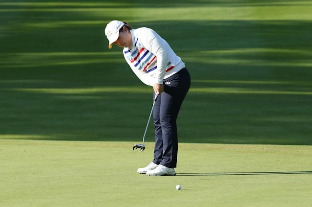 EDMONTON, AB - AUGUST 23: Inbee Park of South Korea putts on the fifth hole during the second round of the CN Canadian Women's Open at Royal Mayfair Golf Club on August 23, 2013 in Edmonton, Alberta, Canada. (Photo by Stephen Dunn/Getty Images)