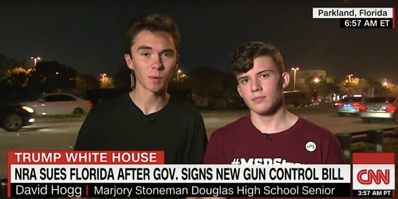 Parkland shooting survivors David Hoff (L) and Alfonso Calderon (R) speak with CNN on Monday.  (Photo: CNN)