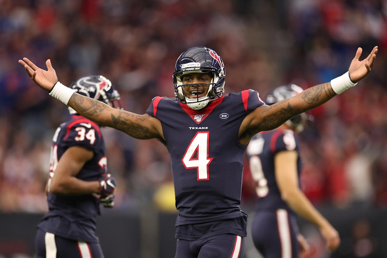 Deshaun Watson #4 of the Houston Texans reacts against the Buffalo Bills. (Photo by Christian Petersen/Getty Images)