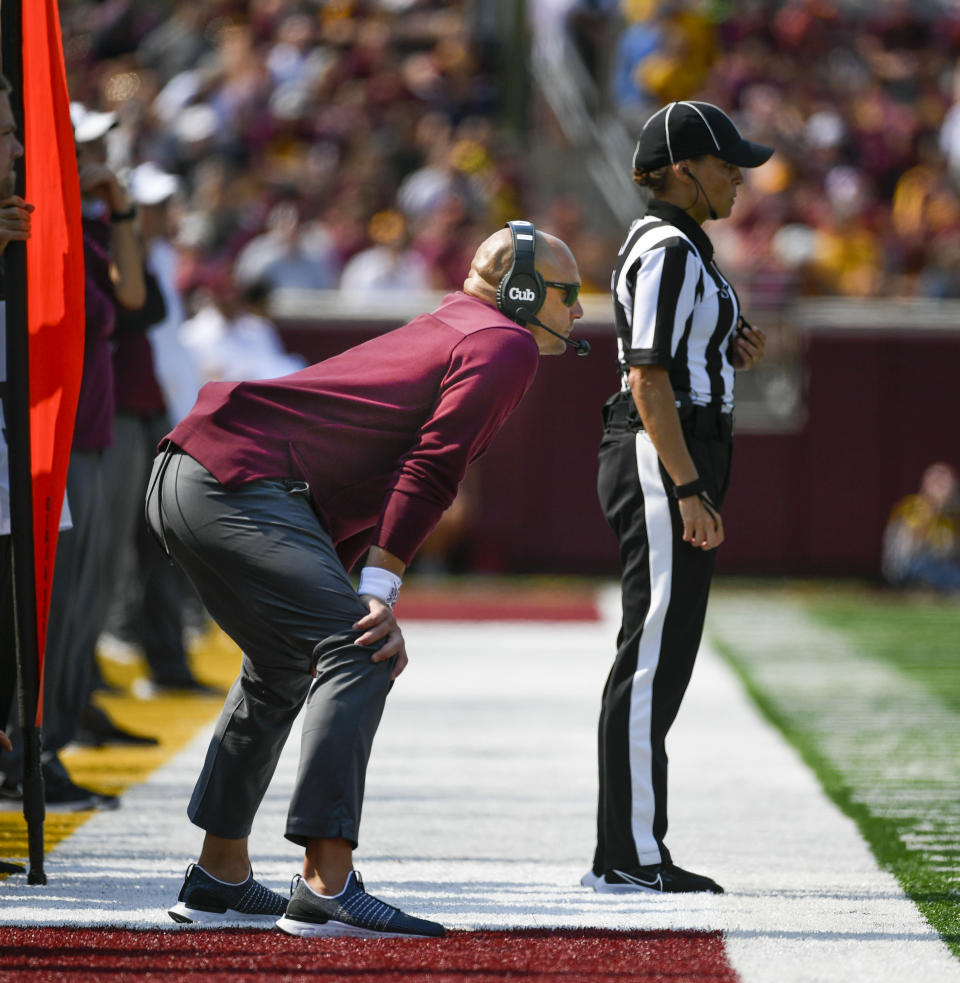 Minnesota head coach P.J. Fleck watches the game against Miami-Ohio during the second half of an NCAA college football game on Saturday, Sept. 11, 2021, in Minneapolis. Minnesota won 31-26. (AP Photo/Craig Lassig)
