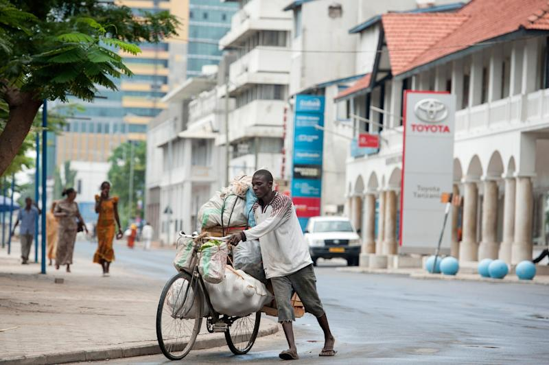 A man transports fruits and vegetables on Sokoine Drive in downtown Dar es Salaam, on April 27, 2014 (AFP Photo/Daniel Hayduk)