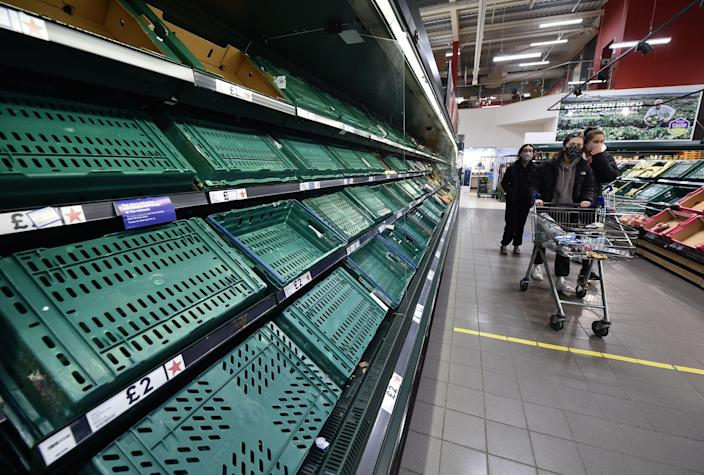 Supermarkets in Northern Ireland have struggled with supply issues since Boris Johnson's Brexit deal came into force on 1 January - but the problem is expected to worsen when the grace period ends. (Getty Images)