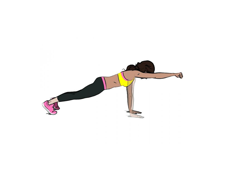 <p><strong>1/ </strong>Assume the plank position.</p><p><strong>2/ </strong>Raise your right arm and punch out straight. Lower and repeat on the other side.</p>