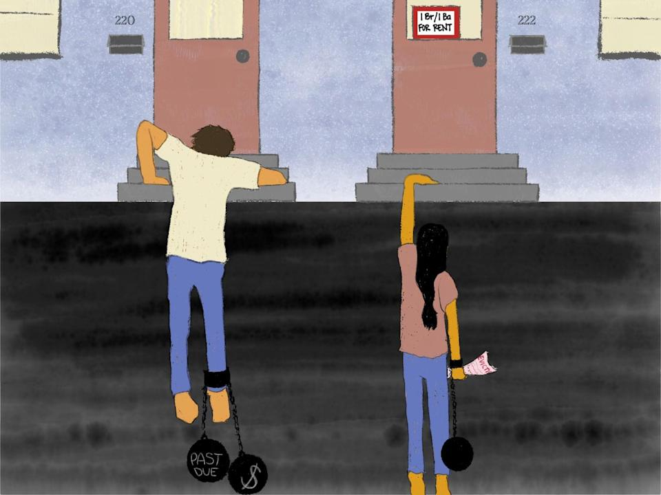 Illustration: a man and a woman weighed down by balls and chains representing their debt.