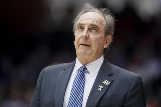 Temple head coach Fran Dunphy reacts during the second half of a First Four game of the NCAA college basketball tournament against Belmont, Tuesday, March 19, 2019, in Dayton, Ohio. (AP Photo/John Minchillo)