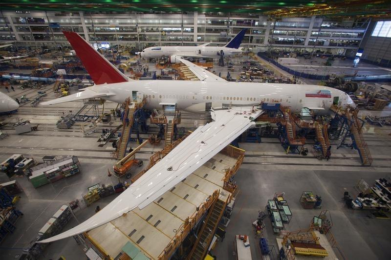 Workers at South Carolina Boeing work on a 787 Dreamliner for Air India at the plant's final assembly building in North Charleston