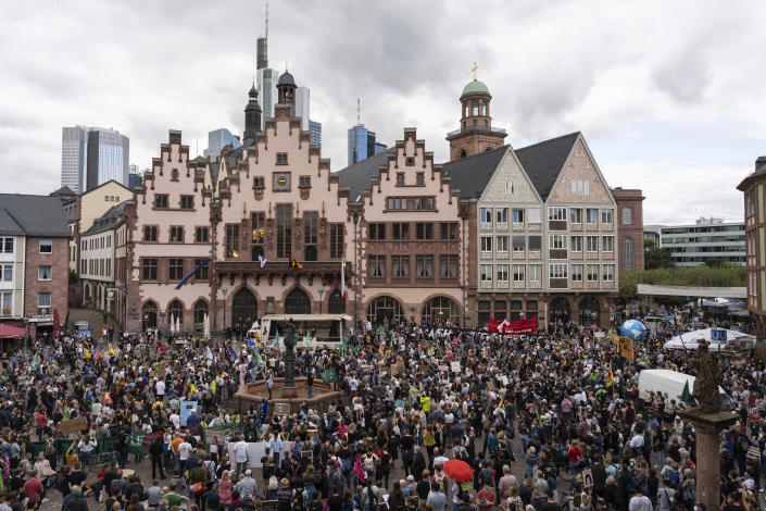 Thousands of people take part in a protest against global warming and climate change in Frankfurt, Germany, Friday Sept. 24, 2021. (Hannes P. Albert/dpa via AP)