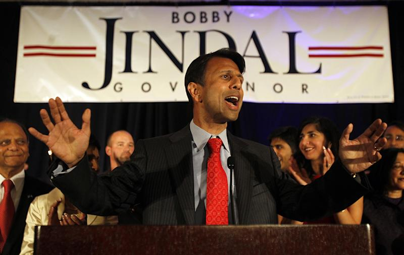 Louisiana Governor Bobby Jindal thanks supporters during his re-election victory party at the Renaissance Hotel in Baton Rouge on Saturday, Oct. 22, 2011. (AP Photo/The Times-Picayune, Michael DeMocker)