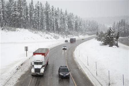 Traffic makes it way slowly up Interstate 80 near Donner Pass in Soda Springs.