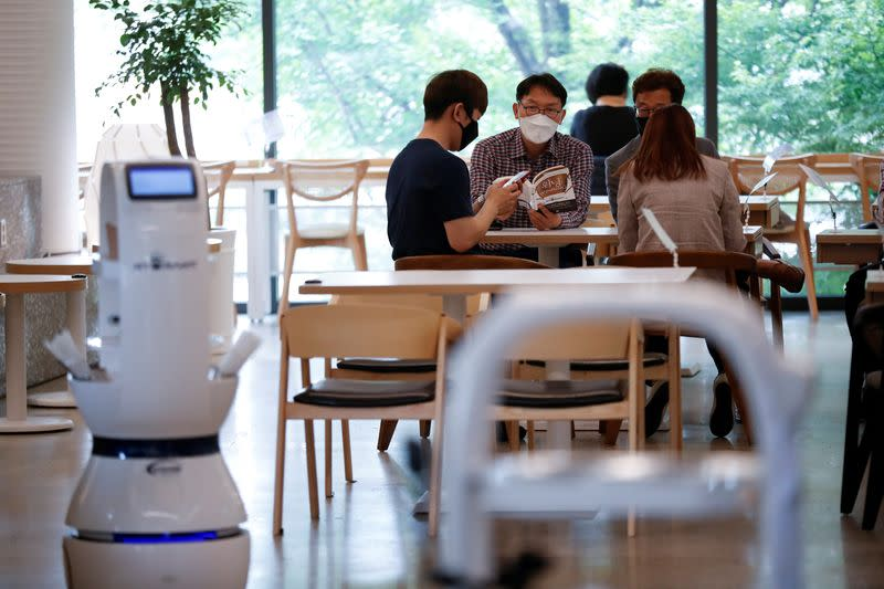 South Korean cafe hires robot barista to help with social distancing