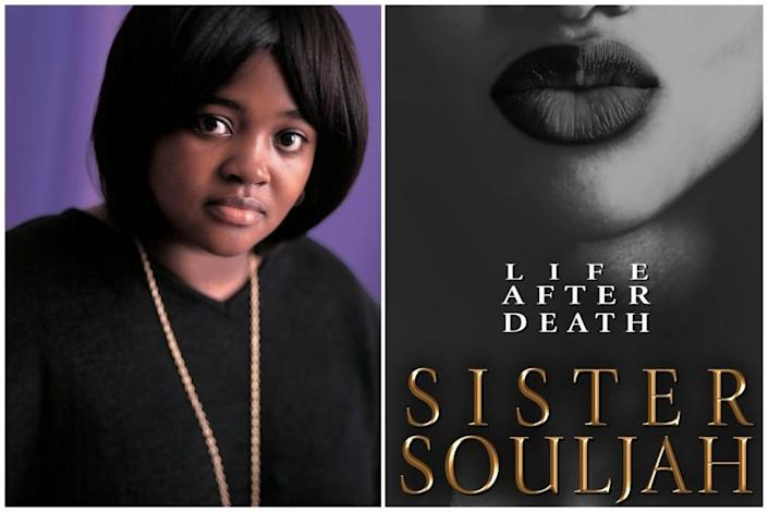 "A diptych of author Sister Souljah and her book jacket for ""Life After Death."" Credit: Brian Velenchenko/Atria/Emily Bestler Books"