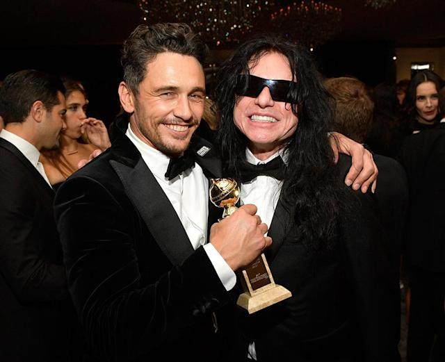 <p>After keeping Tommy Wiseau away from the mic during his acceptance speech, James Franco partied with the inspiration behind his directing and acting turn in <em>The Disaster Artist</em> at the InStyle and Warner Bros. party. (Photo: Matt Winkelmeyer/Getty Images for InStyle) </p>
