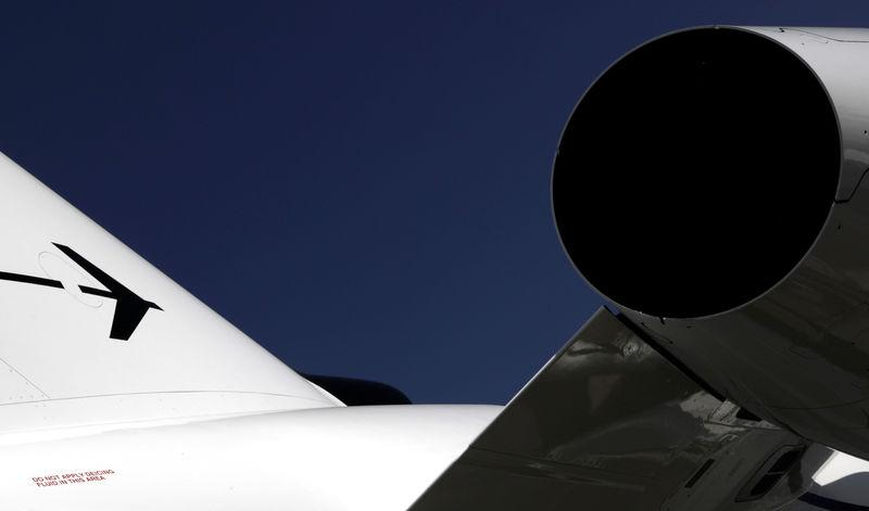 FILE PHOTO - The Embraer logo is seen during the LABACE fair in Sao Paulo