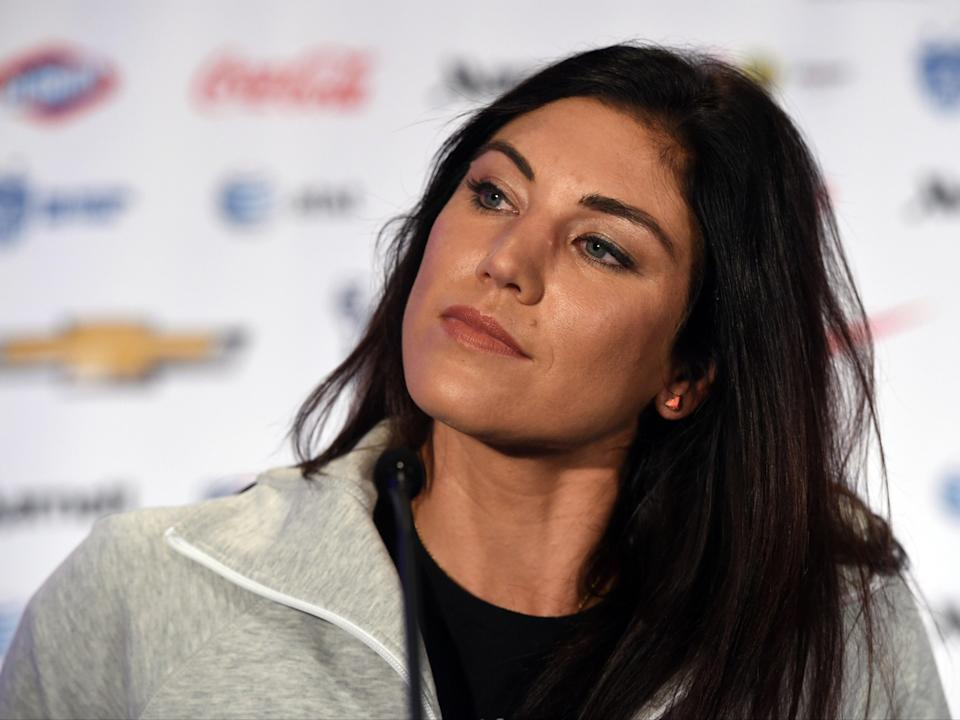 US Soccer team goalkeeper Hope Solo talks to the press during the US Women's National Team World Cup Media Day on May 27, in New York City (AFP/Getty Images)
