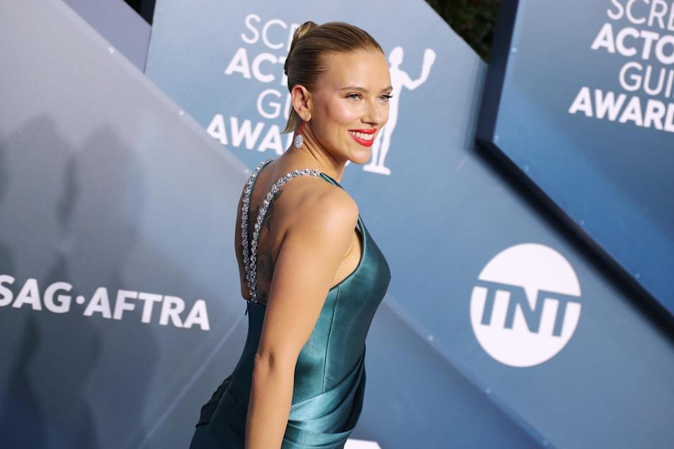 Scarlett Johansson is photographed on the red carpet at the Screen Actors Guild Awards in 2020