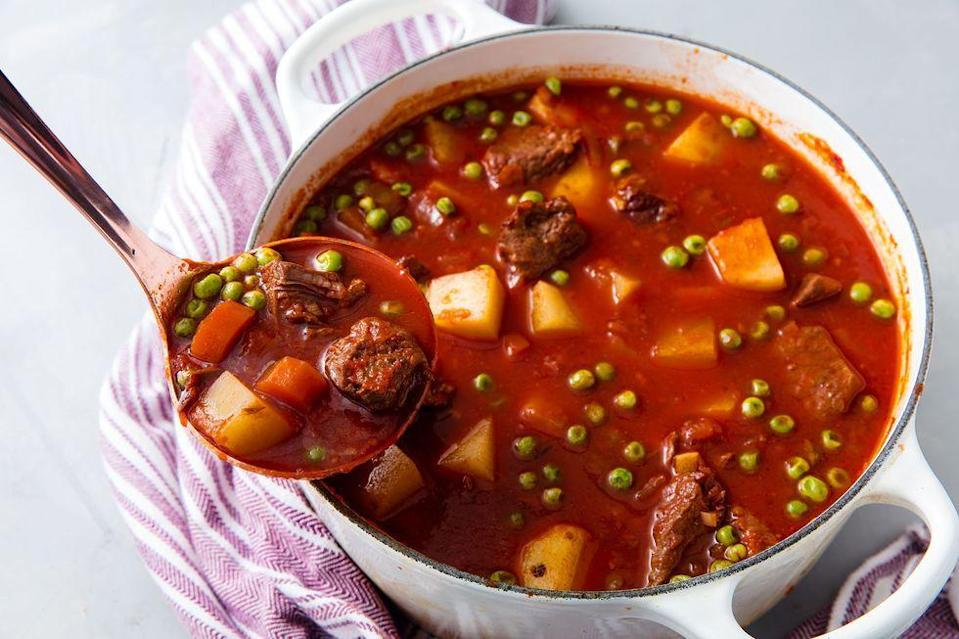 """<p>Nothing can warm you up quite like a bowl of beef stew. This one is packed with hearty vegetables too like potatoes and carrots. Other vegetables can be added or subbed in here as pleased just be sure to add them with other like vegetables so that they cook correctly. </p><p>Get the <a href=""""https://www.delish.com/uk/cooking/recipes/a35306333/vegetable-beef-stew-recipe/"""" rel=""""nofollow noopener"""" target=""""_blank"""" data-ylk=""""slk:Vegetable Beef Stew"""" class=""""link rapid-noclick-resp"""">Vegetable Beef Stew</a> recipe.</p>"""