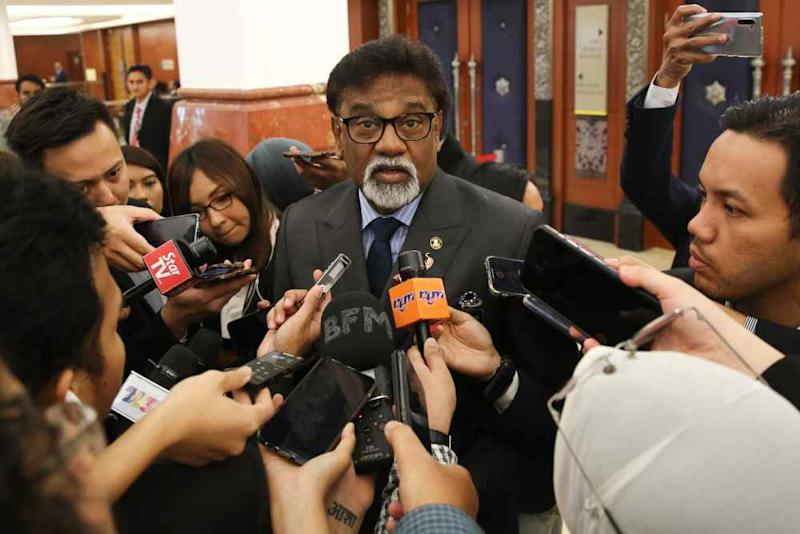 File picture shows Water, Land and Natural Resources Minister Dr Xavier Jayakumar speaking to reporters at Parliament in Kuala Lumpur October 21, 2019. ― Picture by Yusof Mat Isa