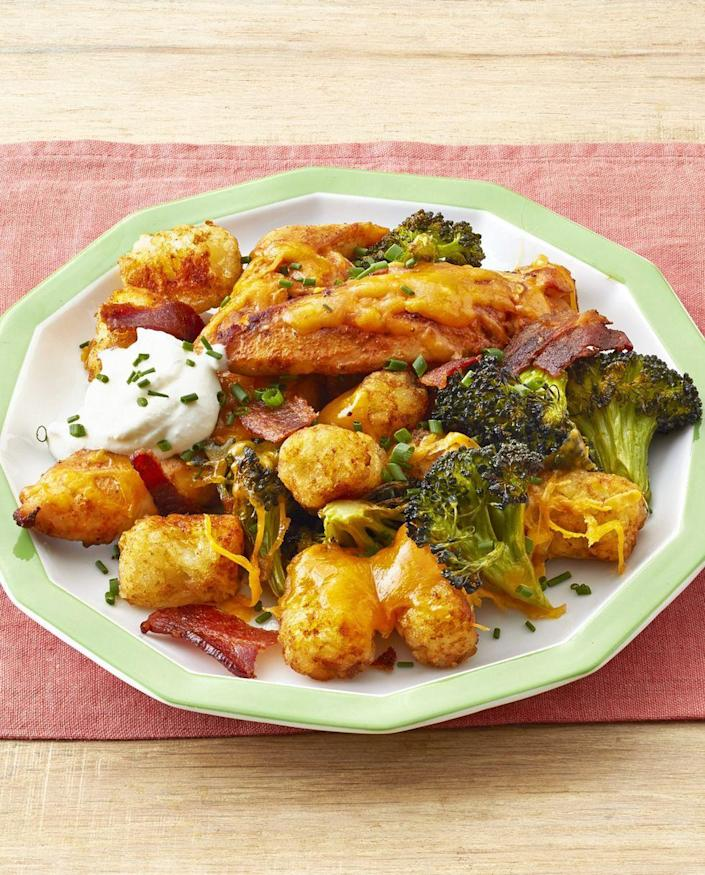 """<p>It doesn't get more comforting than a big serving of this chicken, tater tot, and bacon dish. Cheese and sour cream are must-haves to put on top.</p><p><strong><a href=""""https://www.thepioneerwoman.com/food-cooking/recipes/a32578307/loaded-chicken-and-tater-tots-recipe/"""" rel=""""nofollow noopener"""" target=""""_blank"""" data-ylk=""""slk:Get the recipe."""" class=""""link rapid-noclick-resp"""">Get the recipe.</a></strong> </p>"""
