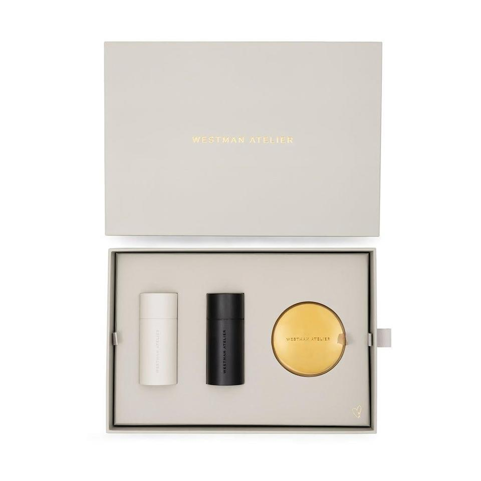 """<h3>Westman Atelier Le Box</h3><br>A curated assortment of clean makeup for your friend who keeps fashion books on her <a href=""""https://www.refinery29.com/en-us/coffee-table-decor-ideas"""" rel=""""nofollow noopener"""" target=""""_blank"""" data-ylk=""""slk:coffee table"""" class=""""link rapid-noclick-resp"""">coffee table</a> and watched all of <em><a href=""""https://www.refinery29.com/en-us/2020/10/10064938/emily-in-paris-french-girl-beauty-products-secrets"""" rel=""""nofollow noopener"""" target=""""_blank"""" data-ylk=""""slk:Emily in Paris"""" class=""""link rapid-noclick-resp"""">Emily in Paris</a> </em>in a single day. <br><br><strong>Westman Atelier</strong> Westman Atelier Le Box, $, available at <a href=""""https://go.skimresources.com/?id=30283X879131&url=https%3A%2F%2Fwww.westman-atelier.com%2Fproducts%2Fle-box-gp-edition%3Fvariant%3D30859173822507"""" rel=""""nofollow noopener"""" target=""""_blank"""" data-ylk=""""slk:Westman Atelier"""" class=""""link rapid-noclick-resp"""">Westman Atelier</a>"""