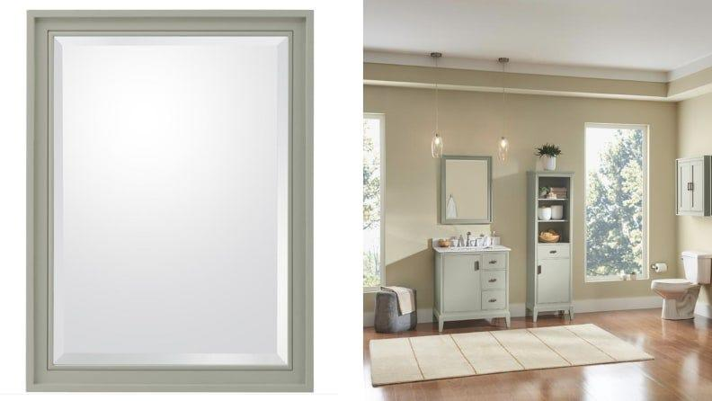 You can also get a matching vanity and cabinets in this sage green shade.
