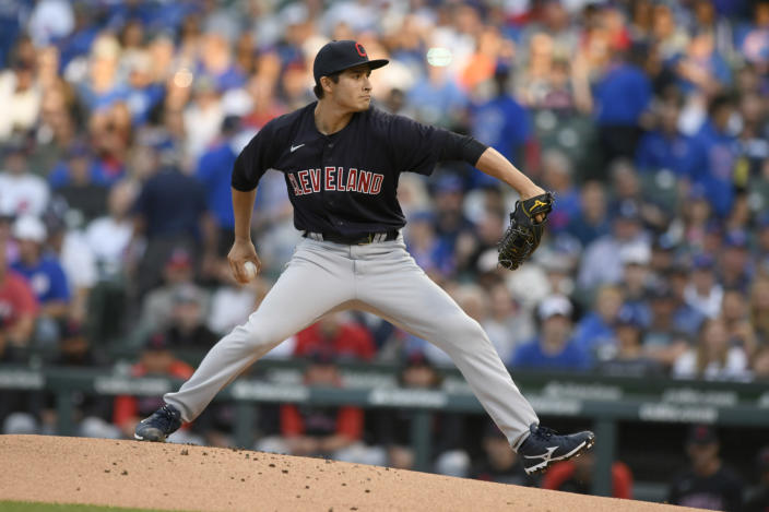 Cleveland Indians starter Eli Morgan delivers a pitch during the first inning of a baseball game against the Chicago Cubs Tuesday, June 22, 2021, in Chicago. (AP Photo/Paul Beaty)