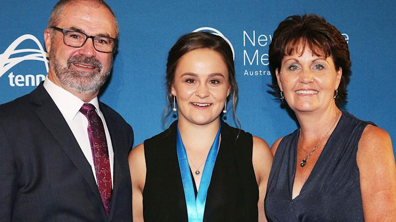 Ashleigh Barty with dad Robert and mum Josie at the 2017 Newcombe Medal. (Photo by Michael Dodge/Getty Images)