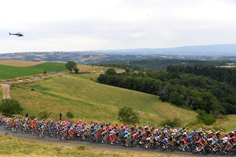 Criterium du Dauphine rolling through French countryside