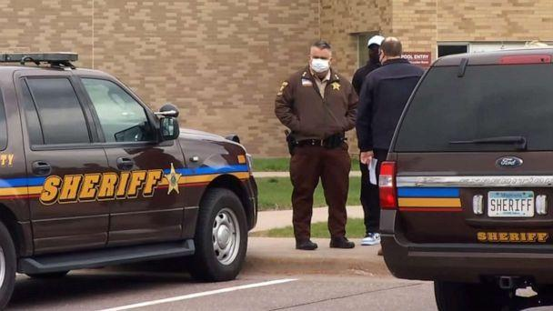 PHOTO: Law enforcement officials stand nearby after reports of a shooting at Plymouth Middle School in Plymouth, Minn., April 26, 2021. (KSTP)