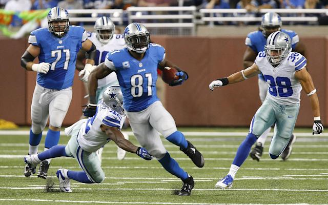 Detroit Lions wide receiver Calvin Johnson (81) breaks free for a 87-yard reception against the against the Dallas Cowboys in the first half of an NFL football game in Detroit, Sunday, Oct. 27, 2013. (AP Photo/Duane Burleson)
